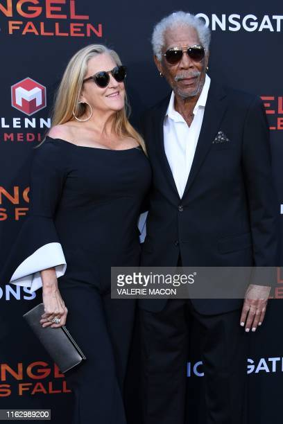 US actor Morgan Freeman and US producer Lori McCreary arrive for the Los Angeles premiere of Angel Has Fallen at the Regency Village theatre on...