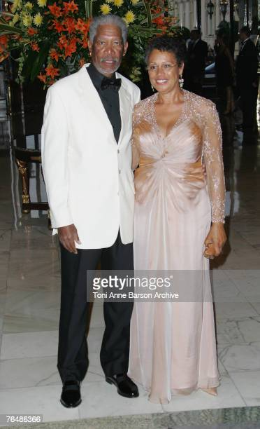 Actor Morgan Freeman and wife, Myrna Colley-Lee arrive at the 'Unite For A Better World Gala Dinner' on September 2, 2007 at the Hotel de Paris in...