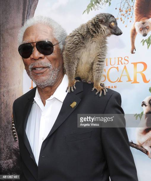 Actor Morgan Freeman arrives at the Premiere Of Warner Bros Pictures and IMAX Entertainment's 'Island Of Lemurs Madagascar' at California Science...