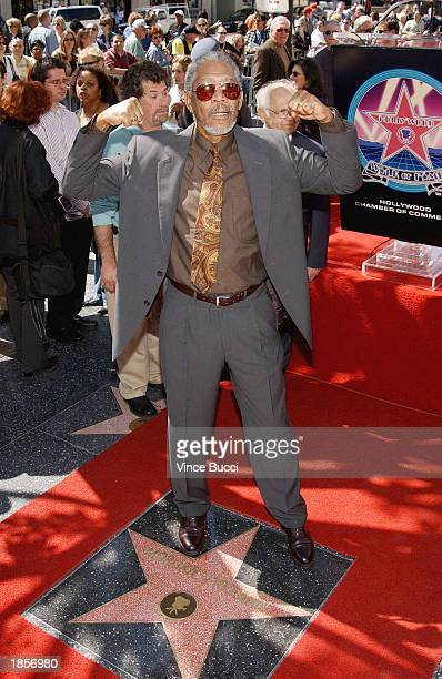 Actor Morgan Freeman attends a ceremony honoring him with a star on the Hollywood Walk of Fame on March 18 2003 in Hollywood California