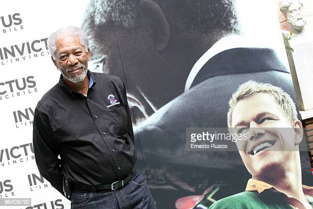 Actor Morgan Freeman attends the Invictus photocall at Hassler Hotel on February 4 2010 in Rome Italy