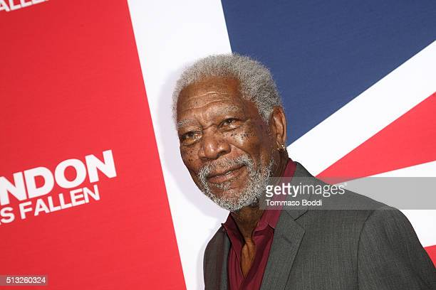 Actor Morgan Freeman attends the premiere of Focus Features' 'London Has Fallen' held at ArcLight Cinemas Cinerama Dome on March 1 2016 in Hollywood...