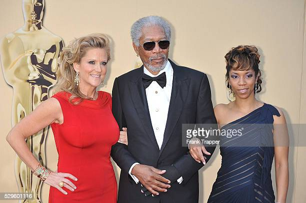 Actor Morgan Freeman daughter Morgana and producer Lori McCreary arrive at the 2010 Oscars held at the Kodak Theatre in Los Angeles