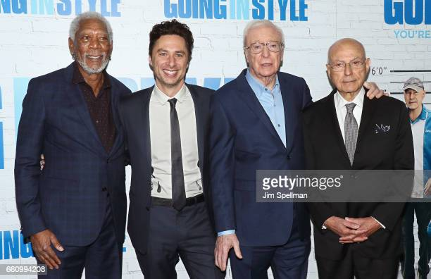 Actor Morgan Freeman director/actor Zach Braff actors Michael Caine and Alan Arkin attend the 'Going In Style' New York premiere at SVA Theatre on...