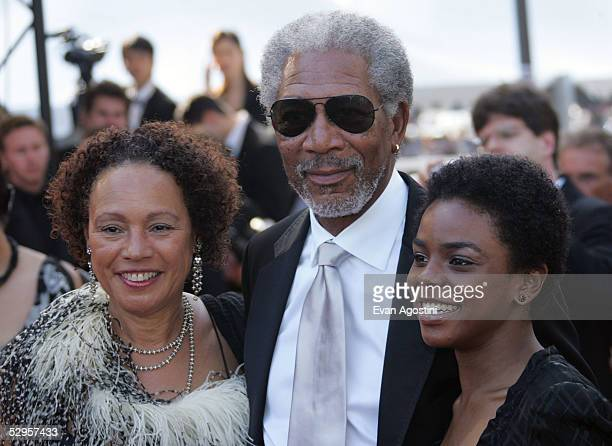 US actor Morgan Freeman his wife Myrna ColleyLee and daughter Deena attend the screening of Three Burials of Melquiades Estrada at the Grand Theatre...