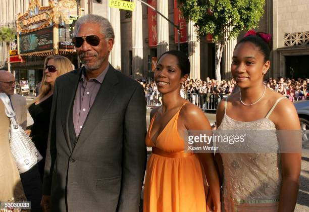 Actor Morgan Freeman Morgana Freeman and Alexis Freeman arrive at the premiere of Batman Begins at the Graumans Chinese Theater on June 6 2005 in...