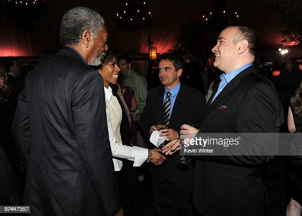 Actor Morgan Freeman Morgana Freeman and CEO of e5 Global Media LLC Richard Beckman attend The Hollywood Reporter's Nominees' Night Prelude to Oscar...