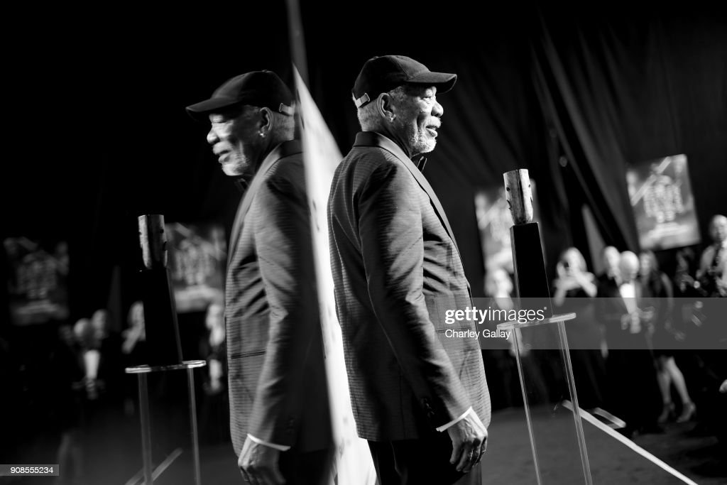Actor Morgan Freeman poses with Screen Actors Guild Life Achievement Award backstage during the 24th Annual Screen Actors Guild Awards at The Shrine Auditorium on January 21, 2018 in Los Angeles, California. 27522_008