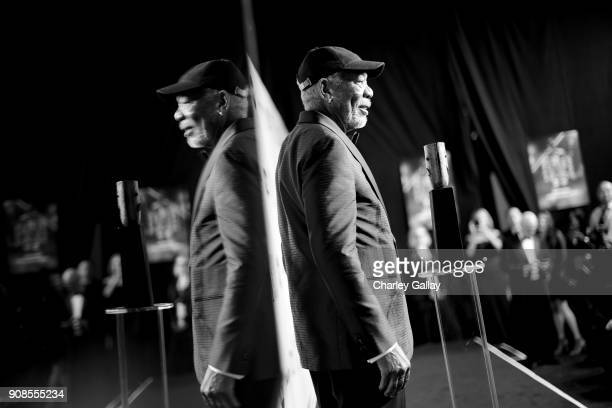 Actor Morgan Freeman poses with Screen Actors Guild Life Achievement Award backstage during the 24th Annual Screen Actors Guild Awards at The Shrine...