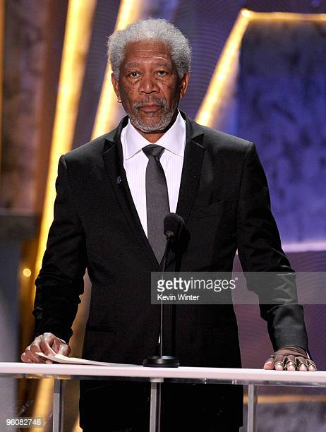 Actor Morgan Freeman presents the award for Female Actor In A Supporting Role onstage at the 16th Annual Screen Actors Guild Awards held at the...