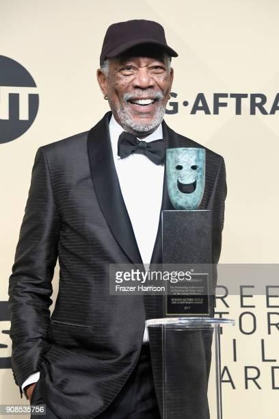 Actor Morgan Freeman recipient of the Screen Actors Guild Life Achievement Award poses in the press room during the 24th Annual Screen ActorsGuild...