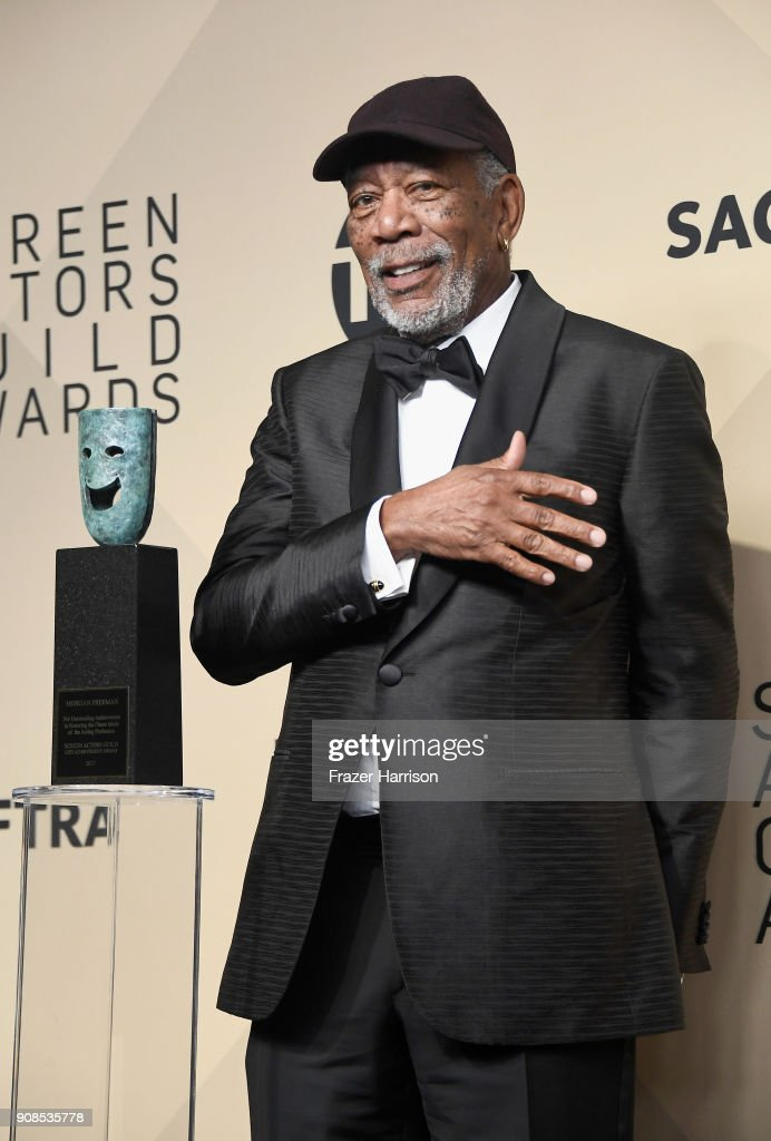 Actor Morgan Freeman, recipient of the Screen Actors Guild Life Achievement Award, poses in the press room during the 24th Annual Screen ActorsGuild Awards at The Shrine Auditorium on January 21, 2018 in Los Angeles, California.