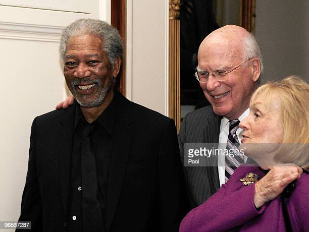Actor Morgan Freeman Sen Patrick Leahy and his wife Marcelle Pomerleau arrive at an event 'In Performance at the White House A Celebration of Music...