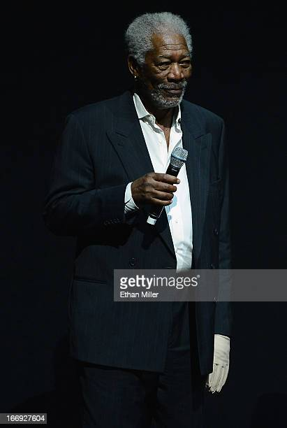 Actor Morgan Freeman speaks during a Lionsgate Motion Picture Group presentation to promote the upcoming film Now You See Me at The Colosseum at...