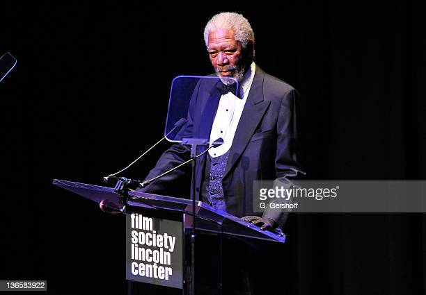 Actor Morgan Freeman speaks onstage at The Film Society of Lincoln Center's presentation of the 38th Annual Chaplin Award at Alice Tully Hall on May...