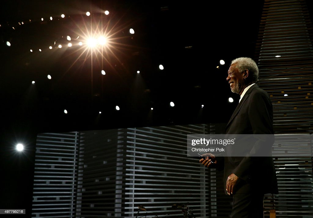 Actor Morgan Freeman speaks onstage during A+E Networks 'Shining A Light' concert at The Shrine Auditorium on November 18, 2015 in Los Angeles, California.