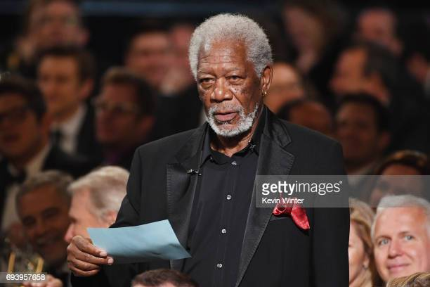 Actor Morgan Freeman speaks onstage during American Film Institute's 45th Life Achievement Award Gala Tribute to Diane Keaton at Dolby Theatre on...