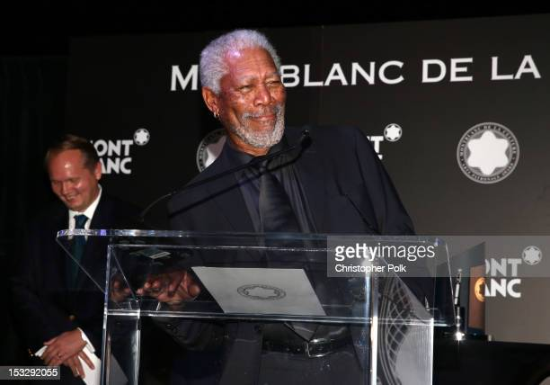 Actor Morgan Freeman speaks onstage during Montblanc Honors Quincy Jones at the Montblanc de la Culture Arts Patronage Award Ceremony held at Chateau...