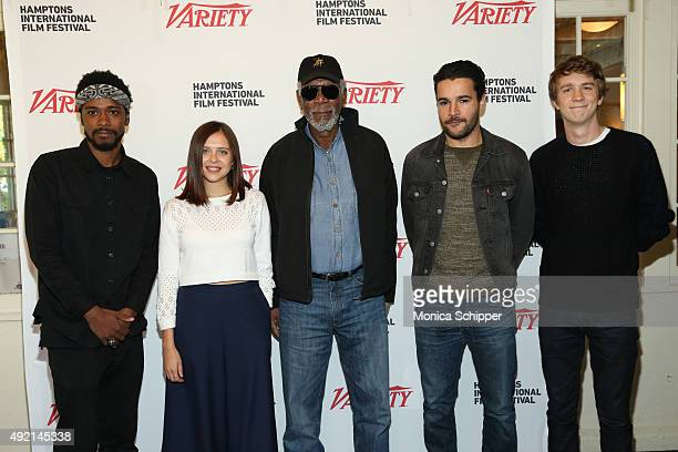 Actor Morgan Freeman with actors Keith Stanfield Bel Powley Christopher Abbott and Thomas Mann of Variety's 10 Actors to Watch brunch and panel on...
