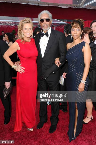 Actor Morgan Freeman with producer Lori McCreary and daughter Morgana arrives at the 82nd Annual Academy Awards held at Kodak Theatre on March 7 2010...