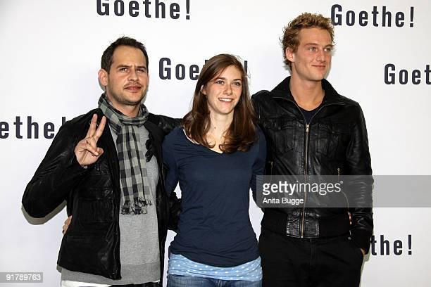 Actor Moritz Bleibtreu actress Miriam Stein and actor Alexander Fehling attend the photocall Goethe at the Gendarmenmarkt concert hall on October 12...