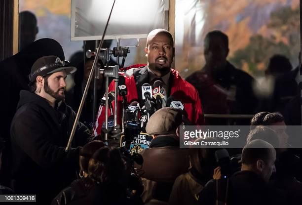 Actor Morocco Omari is seen filming seens on set of '17 Bridges' on November 13 2018 in Philadelphia Pennsylvania
