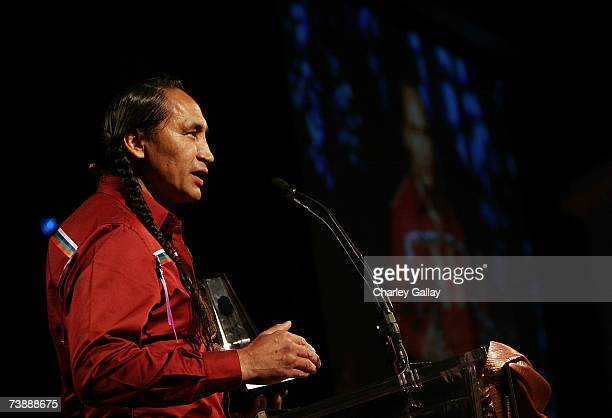 Actor Morris Birdyellowhead receives a Best Supporting Actor Award for his role in 'Apocalypto' at the 15th Annual First Americans in the Arts Awards...