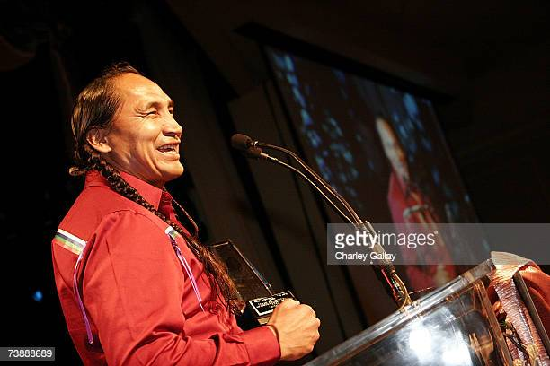 Actor Morris Birdyellowhead receives a Best Supporting Actor Award for his role in 'Apocalypto'at the 15th Annual First Americans in the Arts Awards...