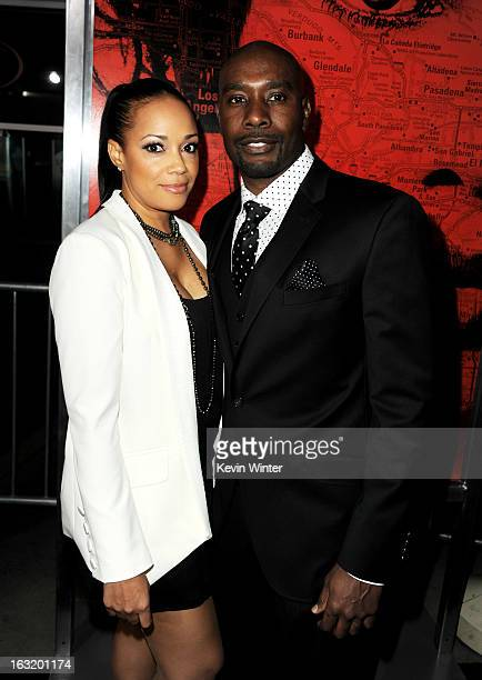 Actor Morris Chestnut and his wife Pam Byse arrive at the premiere of Tri Star Pictures' The Call at the Arclight Theatre on March 5 2013 in Los...