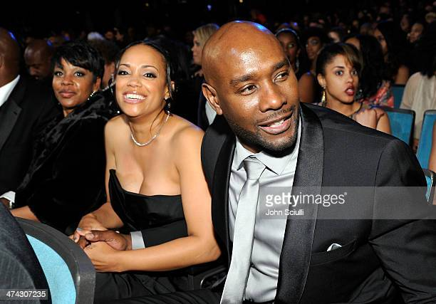 Actor Morris Chestnut and Pam Byse attend the 45th NAACP Image Awards presented by TV One at Pasadena Civic Auditorium on February 22 2014 in...