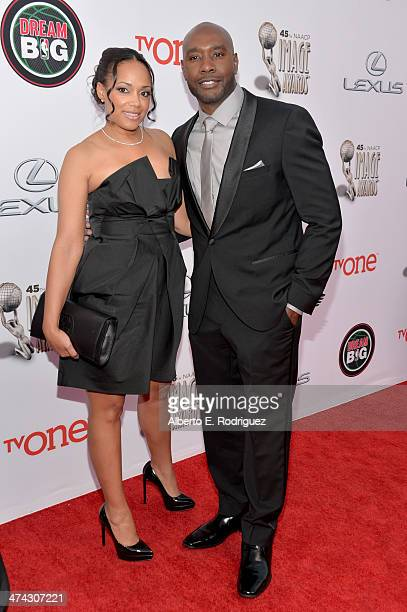 Actor Morris Chestnut and wife Pam Byse attend the 45th NAACP Image Awards presented by TV One at Pasadena Civic Auditorium on February 22 2014 in...