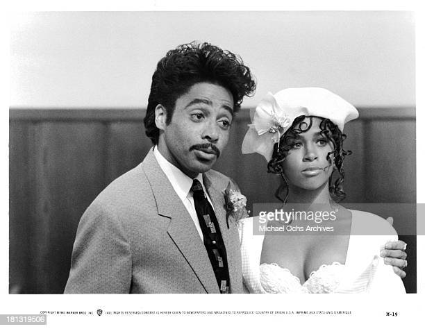 Actor Morris Day and actress Stacey Dash on set of the Warner Bros movie ' Moving' in 1988