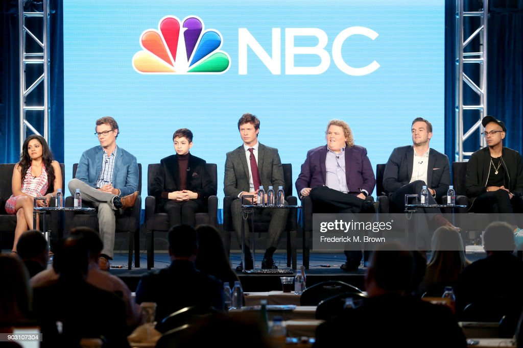 Actor Mouzam Makkar, executive producer Charlie Grandy, and actors J.J. Totahand, Anders Holm, Fortune Feimster, Andy Favreau, and Yassir Lester of 'Champions' speak onstage during the NBCUniversal portion of the 2018 Winter Television Critics Association Press Tour at The Langham Huntington, Pasadena on January 9, 2018 in Pasadena, California.