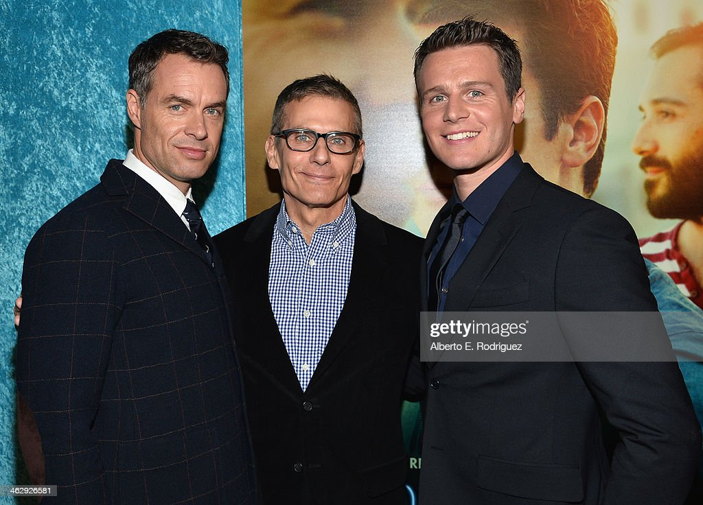 Actor Murray Bartlett HBO President of Programming, Michael Lombardo and actor Jonathan Groff arrive to the premiere of HBO's 'Looking' at Paramount Theater on the Paramount Studios lot on January 15, 2014 in Hollywood, California.