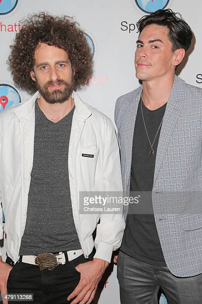 Actor / musician Isaac Kappy and TV personality Tom Sandoval arrive at the Spychatter app launch party at The Argyle on June 30 2015 in Hollywood...