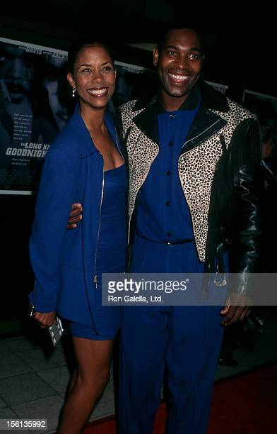 Actor Mykelti Williamson and wife Sondra Spriggs attending 'Long Kiss Goodnight' on October 7 1996 at Mann National Theater in Westwood California