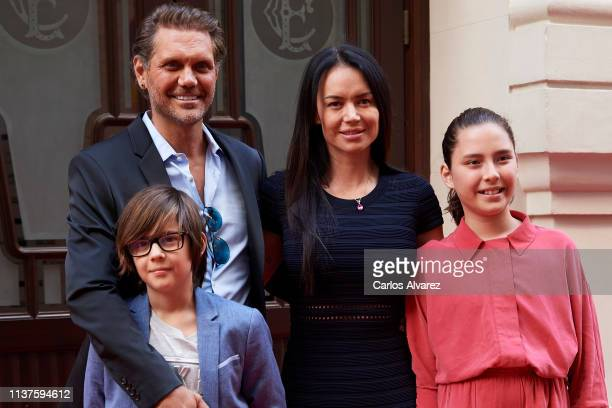 Actor Nacho Vidal wife Franceska Jaimes and their sons Leon Jorda and Violeta Jorda present 'Me Llamo Violeta' documentary during the 22th Malaga...