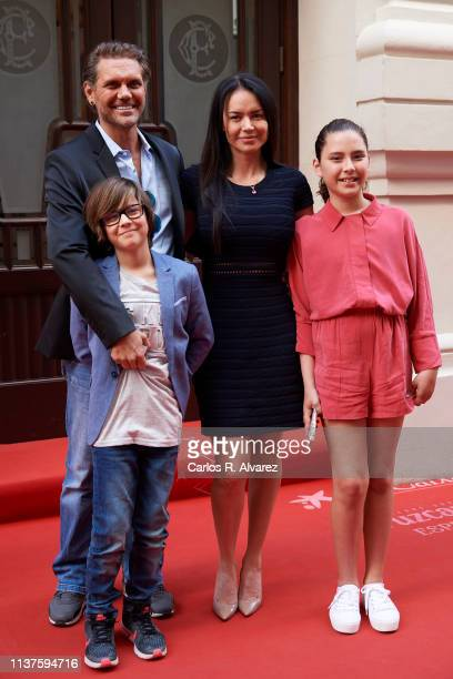 Actor Nacho Vidal, wife Franceska Jaimes and their sons Leon Jorda and Violeta Jorda present 'Me Llamo Violeta' documentary during the 22th Malaga...