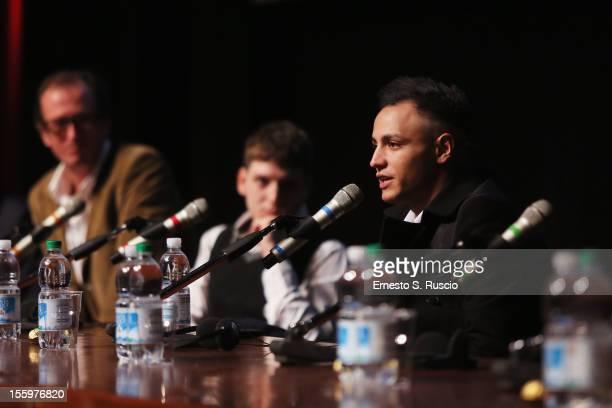 Actor Nader Sarhan speaks during the Ali Ha Gli Occhi Azzurri Press Conference during the 7th Rome Film Festival at the Auditorium Parco Della Musica...