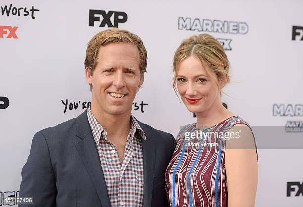 Actor Nat Faxon and actress Judy Greer attend the premiere screening's for FX's You're The Worst And Married at Paramount Studios on July 14 2014 in...