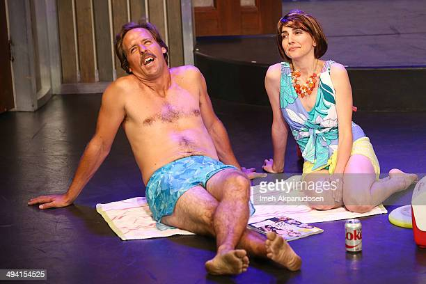 Actor Nat Faxon and actress Rachel Ramras perform onstage at The Groundlings Theatre's celebration of their 40th Anniversary with '2000's Decade...