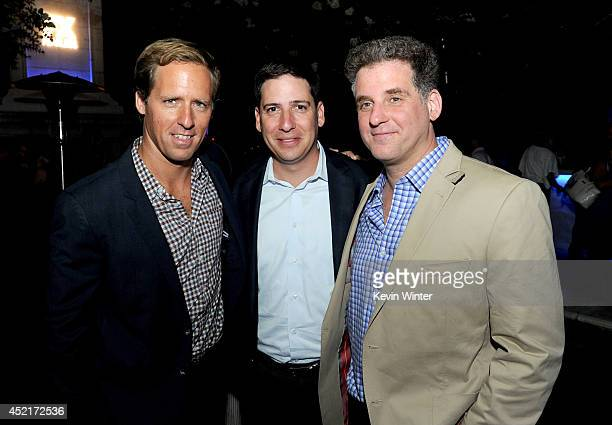 Actor Nat Faxon Eric Schrier President Original Programming for FX Networks and executive producer Andrew Gurland pose at the after party for the...