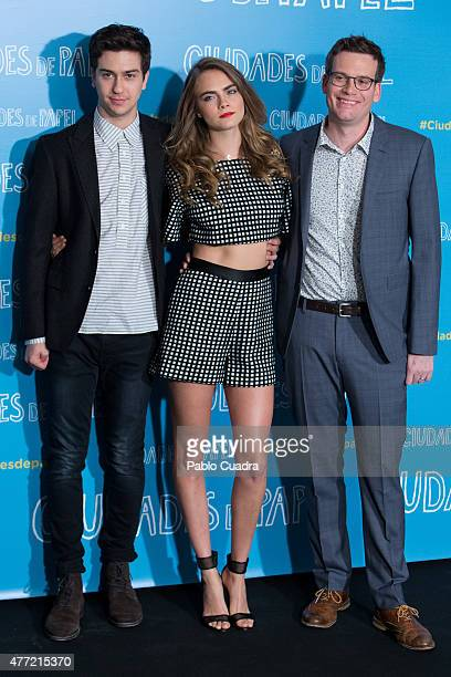 Actor Nat Wolff , actress Cara Delevingne and author John Green attend the 'Paper Towns' photocall at the Villamagna Hotel on June 15, 2015 in...