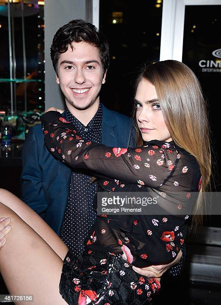 Actor Nat Wolff and actress/model Cara Delevingne attend the Canadian Premiere Of 20th Century Fox's Paper Towns at Scotiabank Theatre on July 23...