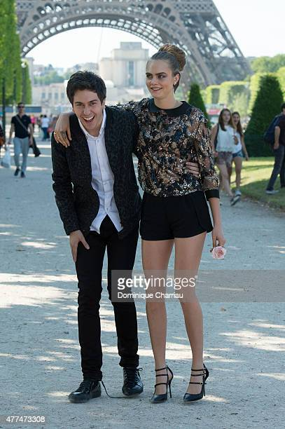"""Actor Nat Wolff and model Cara Delevingne attend the Paper Towns """" La Face Cachee De Margo """" Photocall In Paris on June 17, 2015 in Paris, France."""