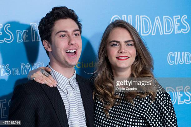Actor Nat Wolff and model/actress Cara Delevingne attend the 'Paper Towns' photocall at the Villamagna Hotel on June 15, 2015 in Madrid, Spain.