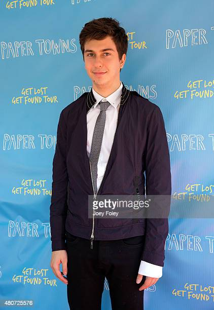 """Actor Nat Wolff poses during the Get Lost Get Found Tour for """"Paper Towns"""" Movie at Old National Centre on July 14, 2015 in Indianapolis, Indiana."""