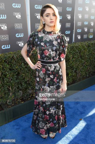 Actor Natalia Dyer attends Moet Chandon celebrate The 23rd Annual Critics' Choice Awards at Barker Hangar on January 11 2018 in Santa Monica...