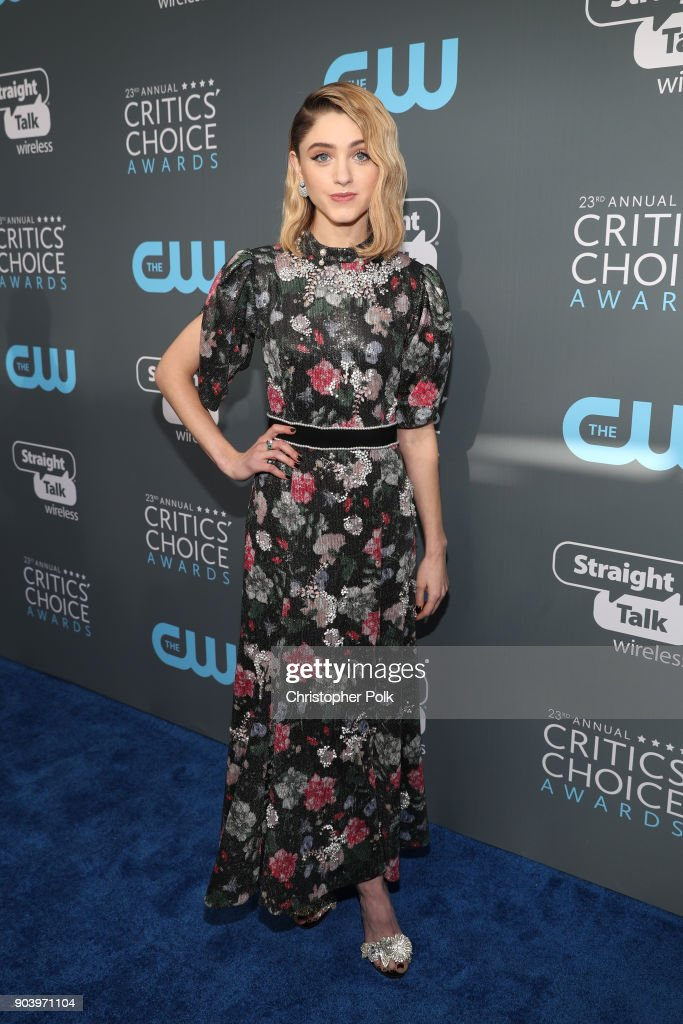 Actor Natalia Dyer attends The 23rd Annual Critics' Choice Awards at Barker Hangar on January 11, 2018 in Santa Monica, California.