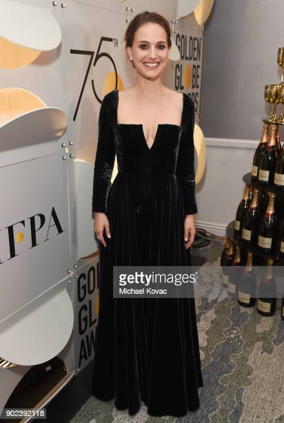 Actor Natalie Portman celebrates The 75th Annual Golden Globe Awards with Moet Chandon at The Beverly Hilton Hotel on January 7 2018 in Beverly Hills...